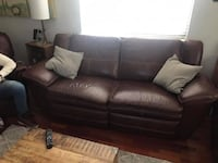 Real Leather LayZboy reclining brown couch Arlington, 22203