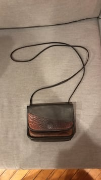 brown textured leather crossbody bag