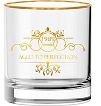 30th Birthday Gift Whisky Glass, Vintage Deluxe Gold Rim NEW IN BOX