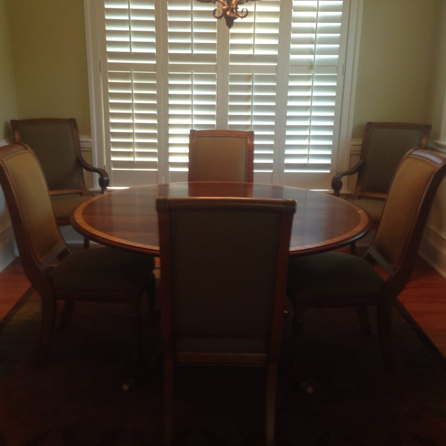 "Ethan Allen 56""-74"" Round Belmont Table w/ 6 Chairs Dining Set"