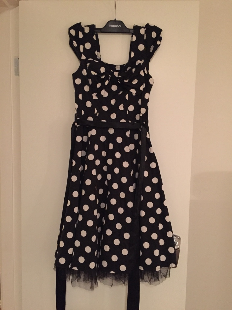 women's black and white polka dot print sleeveless dress