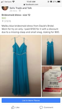 Malibu Blue Bridesmaid dress + strapless longline bra (new)