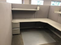HIGH WALL CUBICLE SETS - L Desk , Filers and Shelves w/ Task Light  New Castle