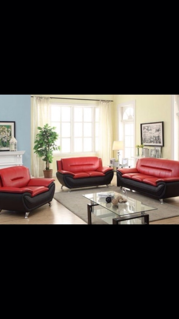 Awesome New 3 Pcs Red And Black Sofa Set Onthecornerstone Fun Painted Chair Ideas Images Onthecornerstoneorg
