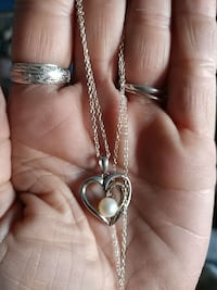 Pearl dimond heart neckless