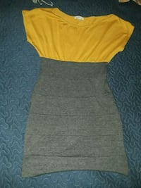 yellow and white scoop-neck cap-sleeved dress Silver Spring, 20902