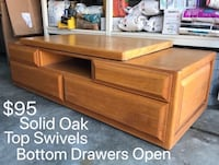 Solid oak tv stand with storage