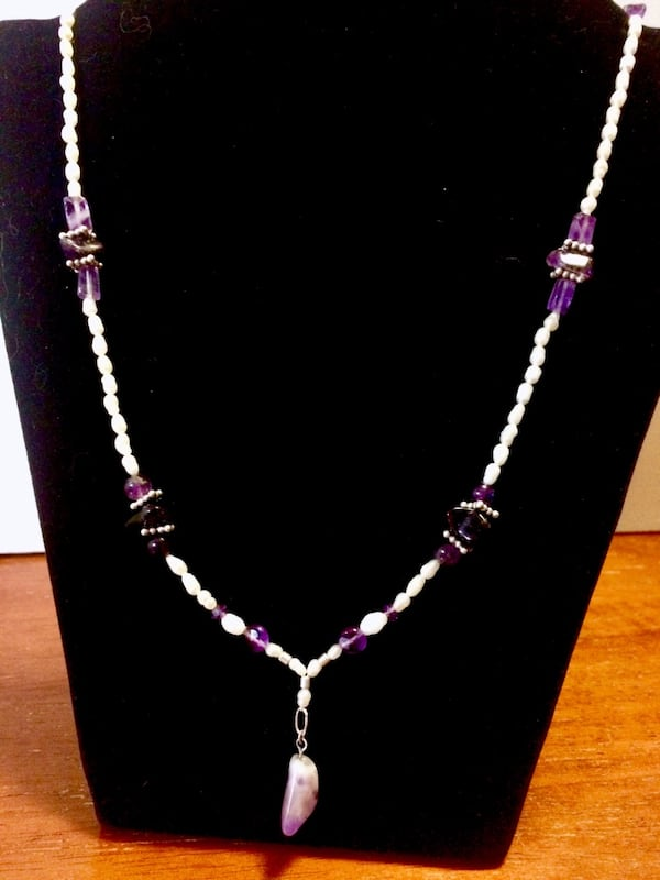 purple amethyst, white pearls and sterling silver hand made necklace 8ab4560b-4ac9-4b1d-a31c-54f9b91063e0