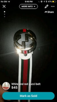 white and red Gucci leather belt Mississauga, L5M 7L9