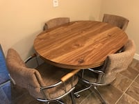 brown wooden dining table with chairs Regina, S4X