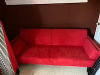 Red futon couch - 6ft across (pickup only) Fairfield, 06824