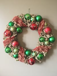 red and green wreath with baubles Paris, N3L 4C9