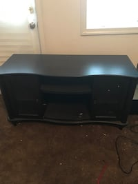 Dark Solid Wood TV Stand w/ Glass Doors Coatesville, 19320