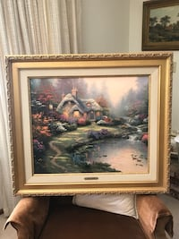 brown wooden framed painting of house Lancaster, 93534