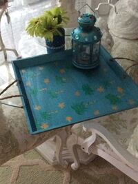 This is a lovely wooden garden tray for entertaining Lantern, tray, stairs and palm tree themed  Bowmanville, L1C 2B9