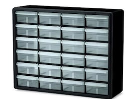 Black and clear storage drawers