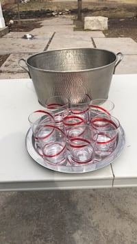 Clear glass set with red swirl (tray and bucket already sold) Burlington, L7P 0S8