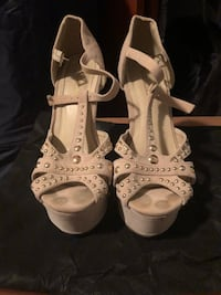 pair of white open-toe ankle strap heels Little Falls, 07424