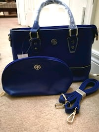 Beautiful blue torry burch leather bag with pouch