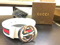 white Gucci leather belt with box