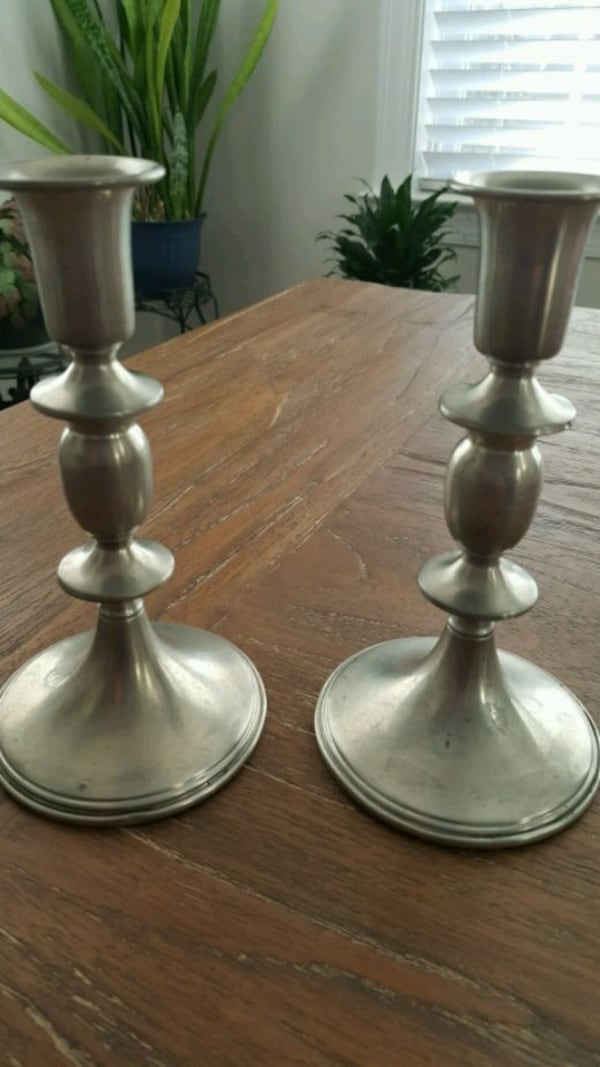 Vintage pewter candle sticks used 1