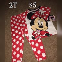 red and white Minnie Mouse pajama set