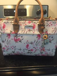 white and pink floral leather tote bag Brantford, N3T