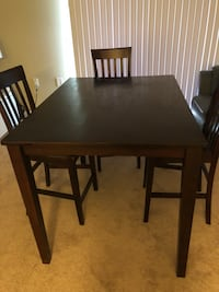 Rectangular brown wooden table with SIX chairs dining set Washington, 20010