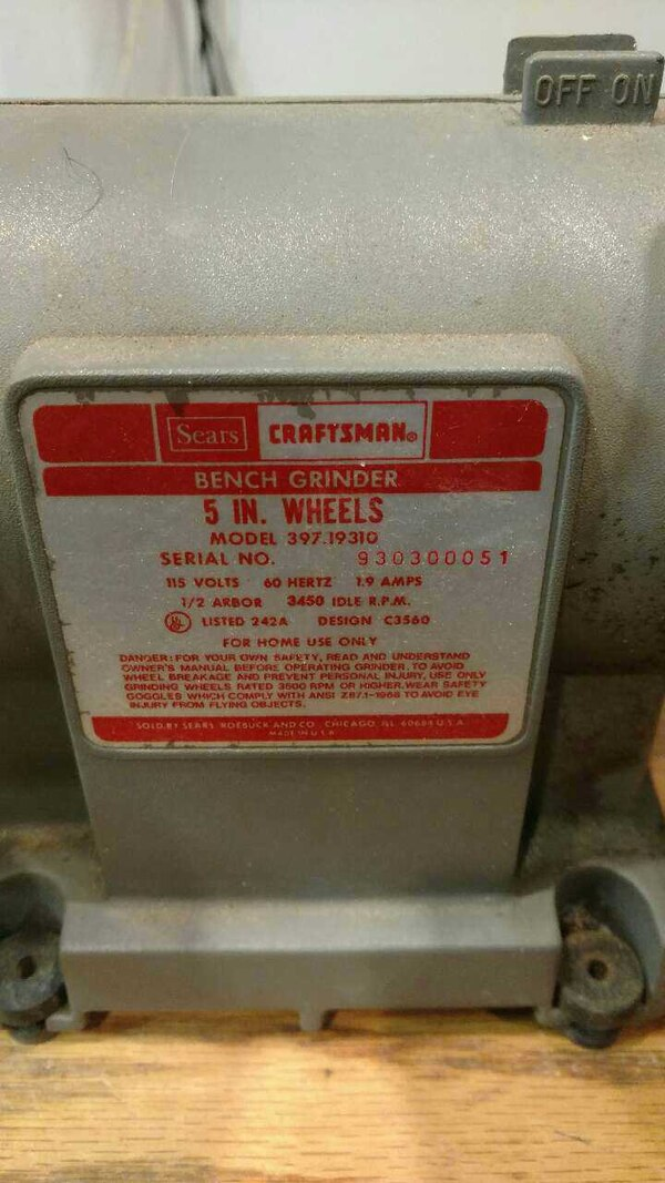 Excellent Vintage Sears Craftsman 5 Bench Grinder Caraccident5 Cool Chair Designs And Ideas Caraccident5Info