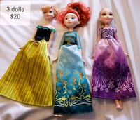 Anna, Merida and Rapunzel dolls - $20   Toronto, M9B 6C4