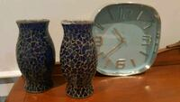 two blue ceramic vases