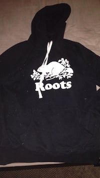 black and white Roots pullover hoodie