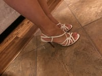Pair of white leather open-toe strappy heels