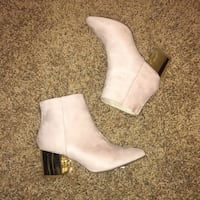 Pink Suede and Gold Chunky Heel Bootie Las Vegas, 89179