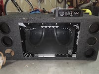 Two 12 inch kenwood subwoofers with amp