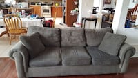 GREEN fabric 3-seat sofa with two throw pillows Barrie, L4N 0Y9