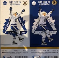 Leafs Vs Bruins  SATURDAY OCTOBER 19 Richmond Hill, L4E 4L4