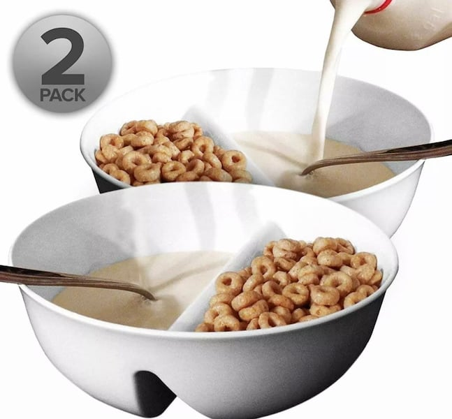 Anti-Soggy Bowls (2) Keeps Cereal/Chips Fresh Crunchy  0