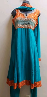women's blue and brown long sleeve dress Surrey, V3X 1P3