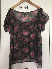 women's black and red floral blouse Barrie, L4N 0H6