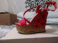 Red sandal wedge shoes brand new 6.5 size Port Richey