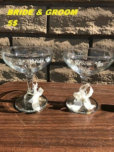 two bride and groom clear footed drinking glass