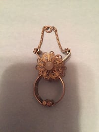 gold and pink floral pendant