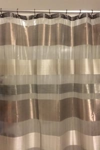 Sheer Metallic Shower Curtain with Oiled Brass Hooks Alexandria, 22312