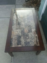 rectangular brown wooden framed glass top coffee table North Attleborough, 02760