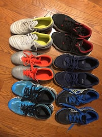 6 pairs used Shoes EASICS and Nike kids 10-12  years size 37-40 566 km