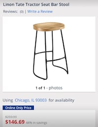 Linon Tate Solid Natural Wood Tractor Seat counter bar stool.