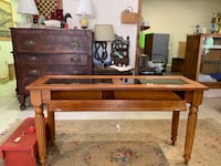 Solid oak sofa table with built in display case