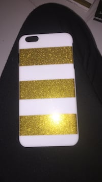 yellow and white glittered iPhone case
