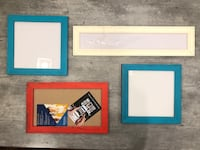 "Set of four fun frames (two teal, one bright red and one cream. Inside frame dimensions are- 15.5"" x 8.5"", 10.5"" x 10.5"" and 24.5"" x 3.5"". They have wood frames. $22/all four  Bourbonnais, 60914"